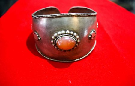 Silver Bangle with Stone